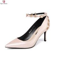 Первоначальное намерение Высококачественные женские туфли-лодочки из коровьей кожи туфли-лодочки с острым носком на тонком высоком каблук...