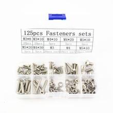 Free Shipping 125pcs/lot 304 Fasteners wood stainless steel  box Mushroom head screw with nut washer M3M4M5 GB819 DIY kit недорго, оригинальная цена
