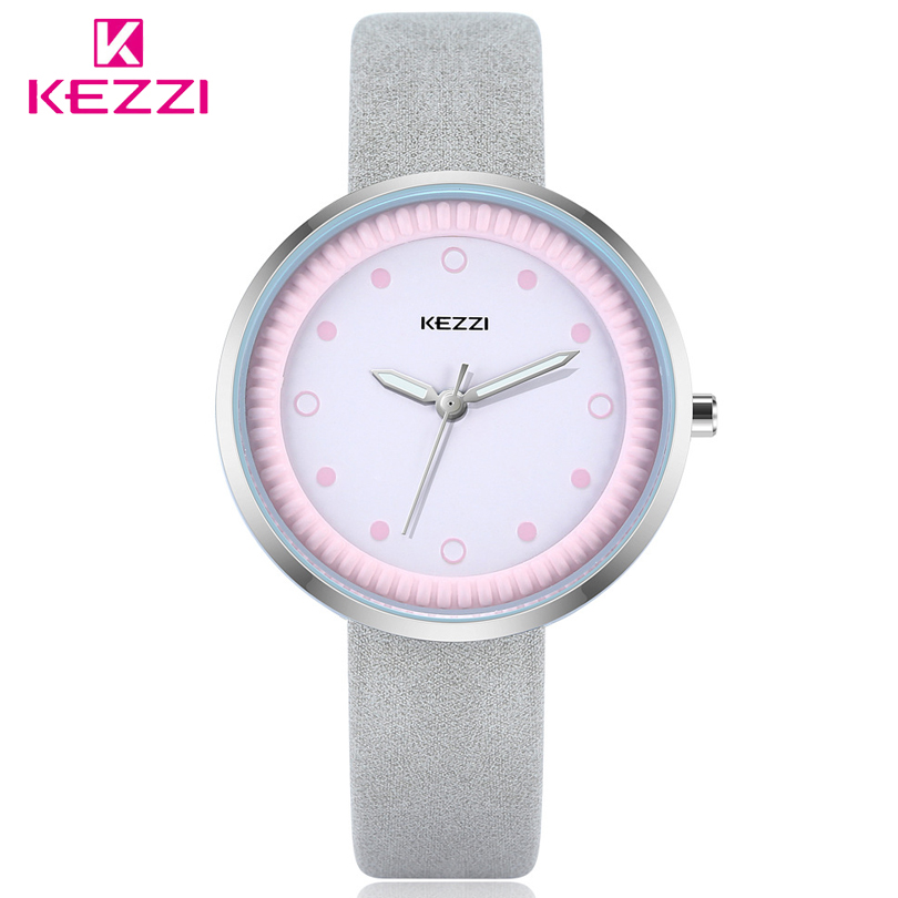 KEZZI Leather Quartz Watch Lady Watches Women Luxury Casual Wristwatch Student Gift Dress Watch Relogio Feminino Montre Femme