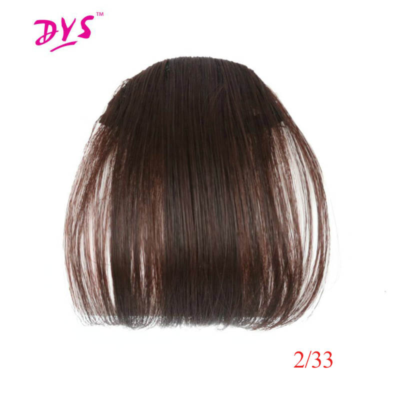 Deyngs Synthetic Clip In Bangs Short Straight Fringe Hair Extensions Front on Brown Black Women Bangs One Piece Heat Resistant ...