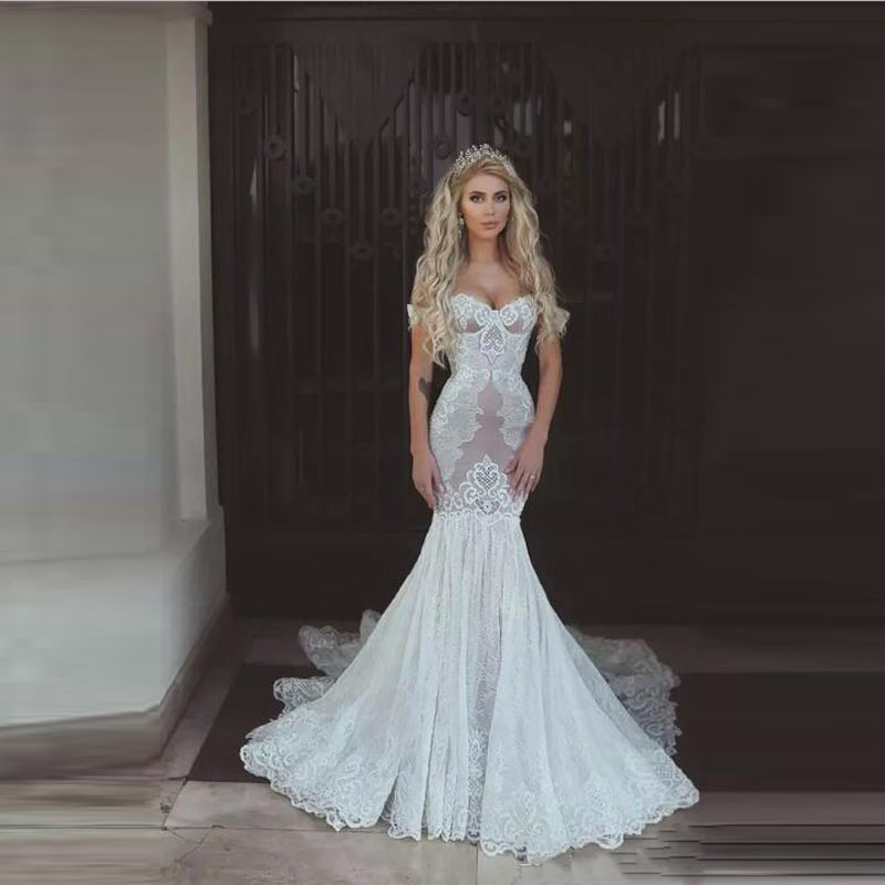 Us 134 1 10 Off White Lace Off Shoulder Sheer Mermaid Wedding Dress Modest Bridal Wedding Maxi Gown Bride Colorful Dresses Vestido De Casamento In
