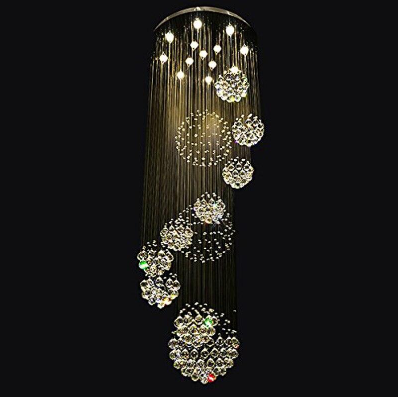 New Modern 11PCS Sphere Crystal Ball Design Chandelier Large Lustres de Cristal Lights D80* H300cm guarantee 100% LED bulbs