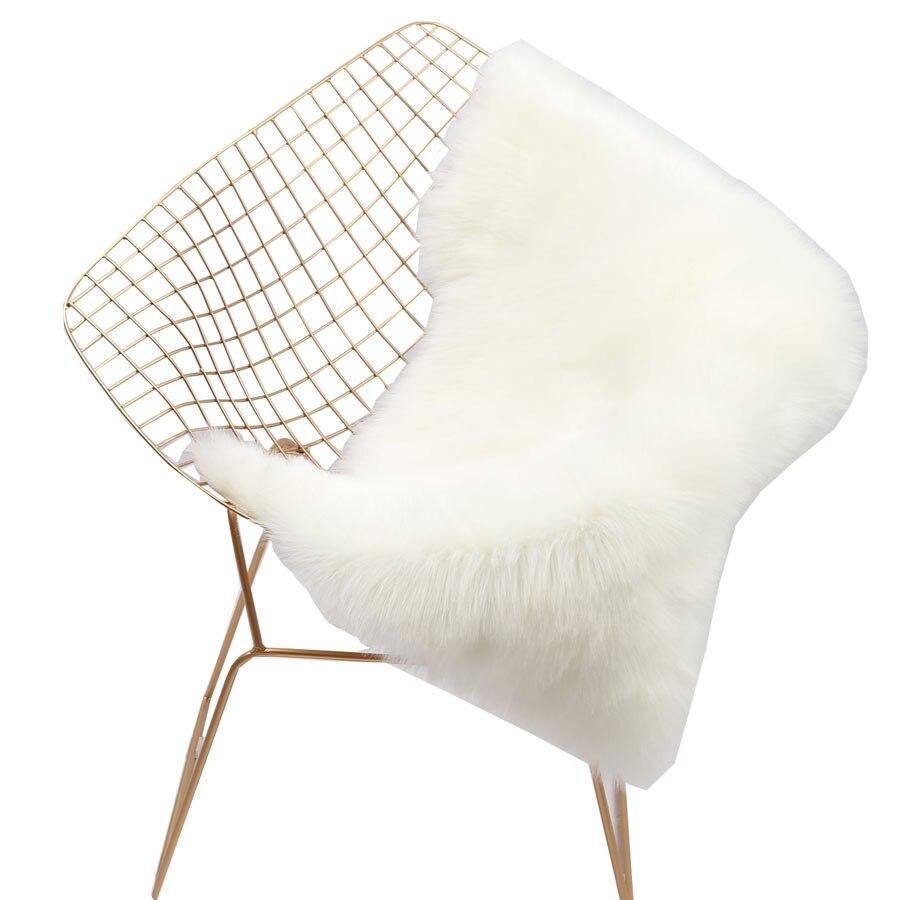 Tapis doux maison en peau de mouton chaise couverture tapis laine artificielle plaine moelleux tapis chambre couverture tapis pour enfants salon Tapete - 4