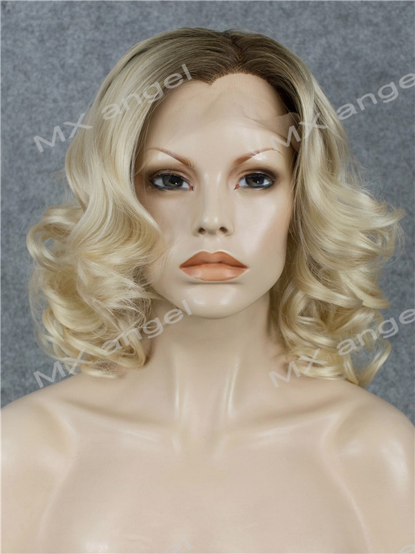 K19 16inch Wavy Dark Root To Light Blonde Ombre Color Synthetic Lace Front Wigs Heat Resistant Heavy Density kanekalon Lady Wigs k19 16inch wavy orange gradient light blonde ombre color synthetic lace front wigs heat resistant heavy density kanekalon wigs