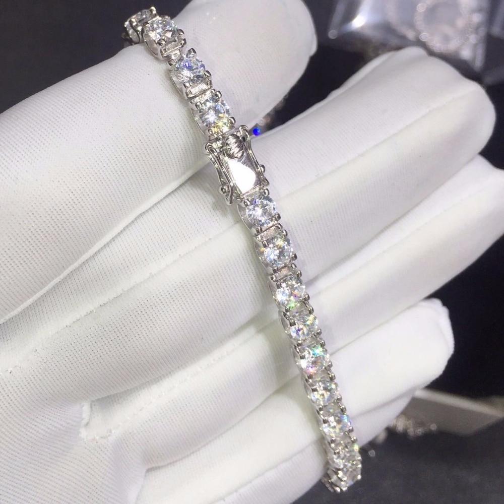 CC! luxe 6 carat sona Simulé Gem bracelets, 925 en argent sterling bracelets, charme bracelets de tennis bracelet