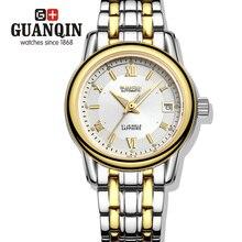Бренд GUANQIN женские часы мужчины автоматическая самостоятельная ветер механические часы женщины платье винтаж стали ремешок группа relogio feminino