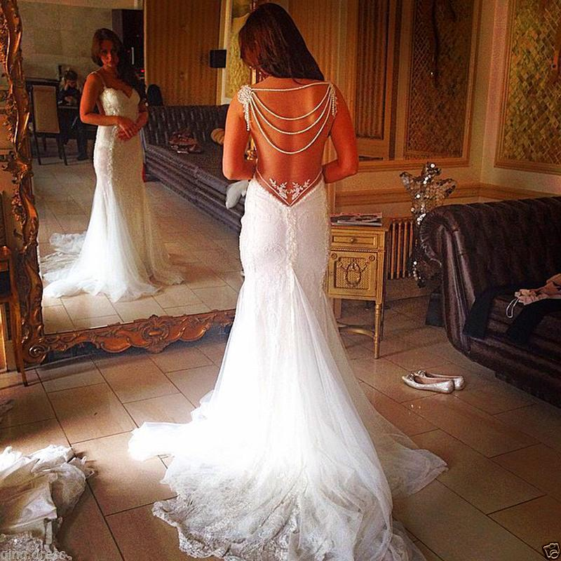 Us 19779 14 Off2019 Backless Lace Bridal Gowns Sheath Mermaid Wedding Dress With Pearls Chains Bridal Dress Wedding Dress Formal Dresses In