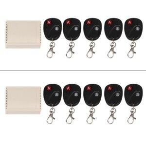 OOTDTY DC12V 2CH RF беспроводной пульт дистанционного управления приемник + 5 2-кнопочных передатчиков