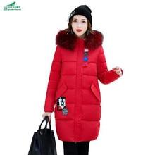 Для женщин хлопковая Верхняя одежда длинный участок с капюшоном и воротником зимнее пальто Женщины Новый корейский мультфильм паста кокон типа плотное пальто okxhnz QQ954