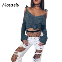 Mosdelu Off The Shoulder Sweater Tops Casual Knitted Sweater Flare Sleeve Autumn Women Sweaters And Pullovers