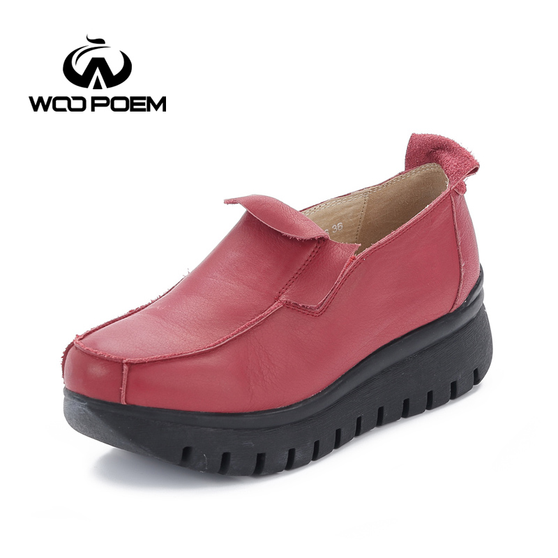 WooPoem Spring Autumn Shoes Women Breathable Cow Leather Boat Shoes Comfortable Slip-On Waterproof Flats Casual Lady Shoes 525-6 chilenxas 2017 new spring autumn soft leather breathable comfortable shoes flats men casual fashion solid slip on handmade