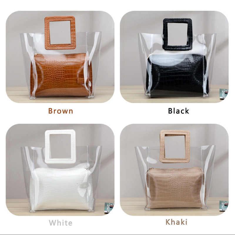 Top-handle Bags Para As Mulheres Grandes Sacolas Claras para As Mulheres Bolsas De Luxo Mulheres Sacos Designer de Mão Transparente Composta sacos