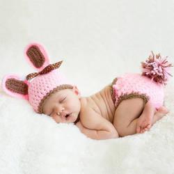 Новорожденный реквизит для ребенка fotografie реквизит розовый милый наряд кролика вязать новорожденного фотографии вязаный крючком костюм