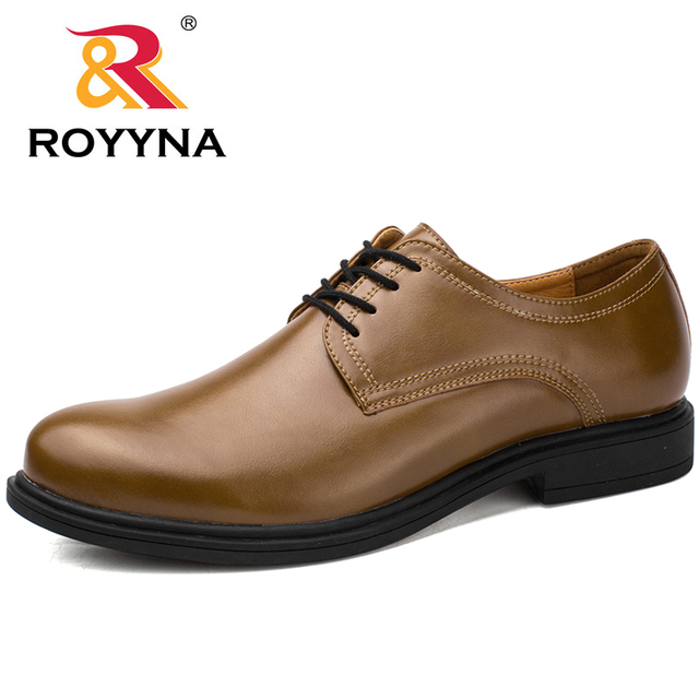 Royyna New Arrival Basic Style Men Formal Shoes Lace Up Round Toe Microfiber