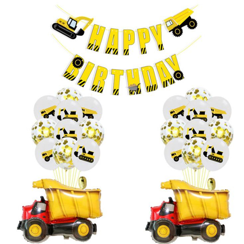 Cartoon Hat Construction Vehicle Excavator Theme  Balloon Confetti Balloon Engineering Vehicles Birthday Party  Supplies Hat