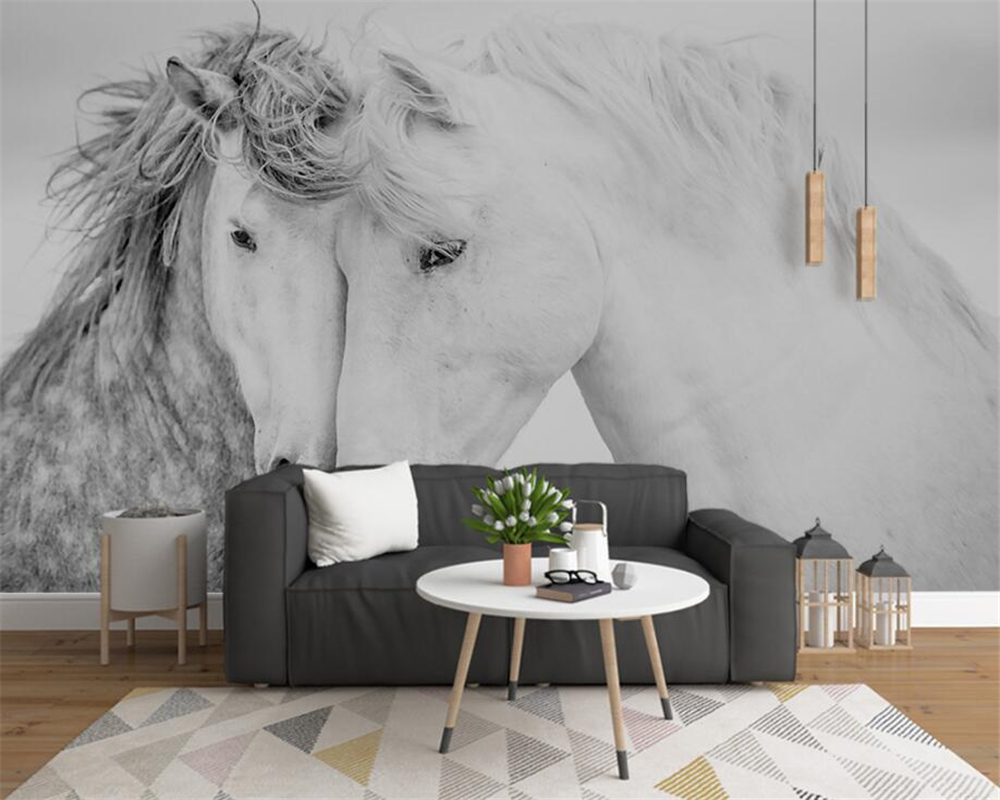 Beibehang Custom Wallpaper 3D Couple White Horse Modern Abstract Art Wall Paintings Living Room Bedroom 3d Wallpaper tapety customized home personalized seamless integration of the abstract paintings lotus wallpaper 1x3m