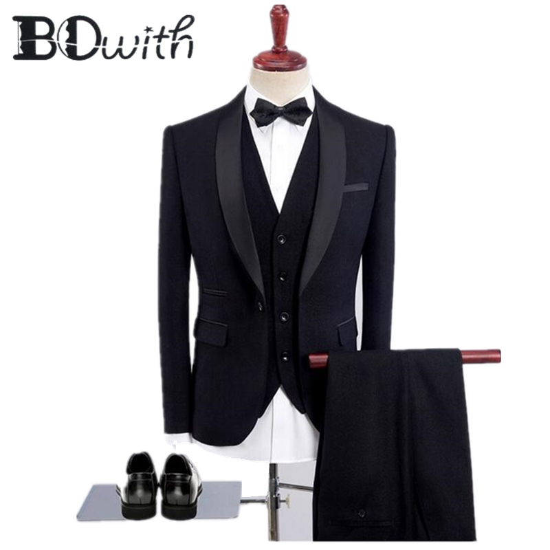 Custom Made costume homme new bright Blue Mens Suits 3 Piece 2019 New Arrival tuxedos for