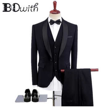 2019 Newest Black Men Suits Shawl Collar One Button Slim Fit 3 Pieces Jacket+Vest+Pants For Wedding Tuxedos Formal Suits - DISCOUNT ITEM  0% OFF All Category