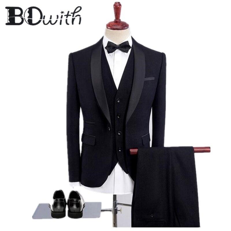 2019 Nieuwste Zwarte Mannen Pakken Sjaalkraag Een Knop Slim Fit 3 Stuks Jacket + Vest + Broek Voor Wedding tuxedos Formele Pakken-in Pakken van Mannenkleding op  Groep 1