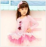 高品質4-8年韓国レース長袖女の子ワンピースdress、子供バレエスカート(を与えるローズヘアアクセサリー/クリップ)