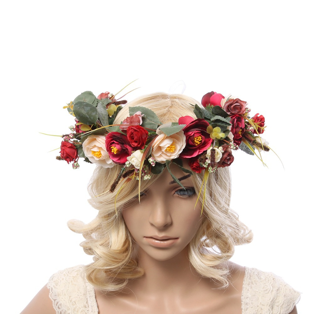 Delle donne del fiore corona Ghirlanda di Fiori copricapo per la Cerimonia  Nuziale Feste Delle Ragazze di fiore Corona Copricapo delle ragazze di  fiore ... 5125c601d1fc