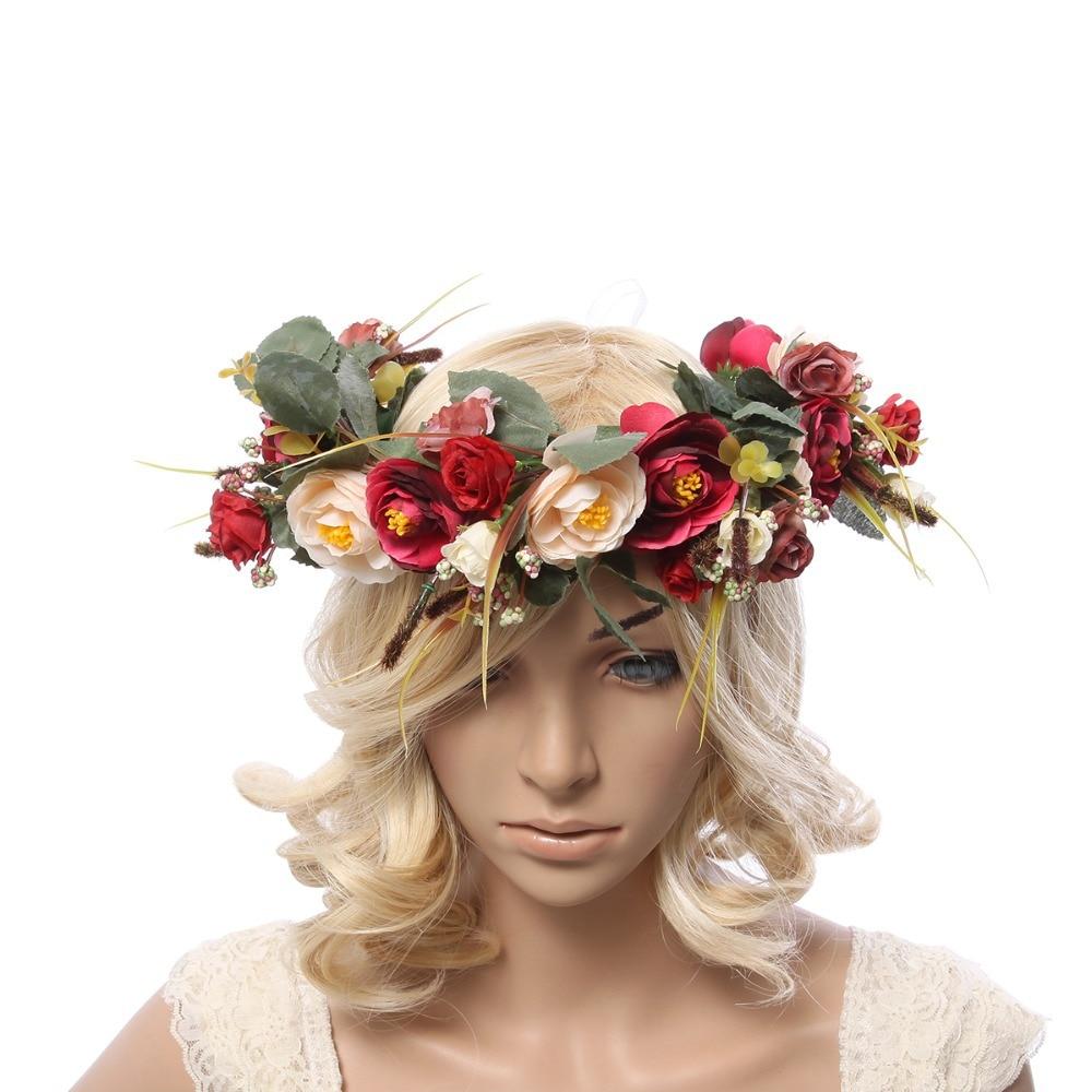 Women Flower Crown Flower Garland Headpiece For Wedding Festivals Girls Flower Wreath Headpiece Girls Flower Garland Headpiece