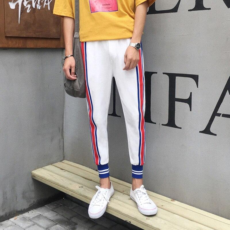 2017 autumn Korean new style men s casual fashion pants Ribbon decoration high quality trousers black