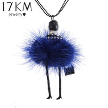 17KM Fashion Doll Necklace Long Chain Pendant Necklace for Women Bag Vintage Steampunk Crystal Statement gargantilla collares