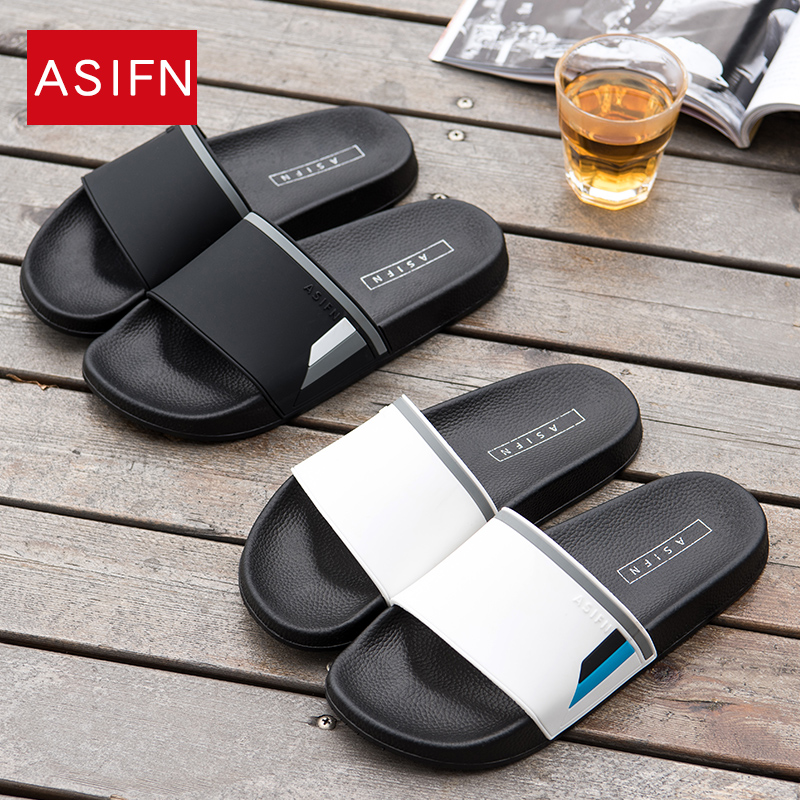ASIFN Men Beach Slippers Summer Flip Flops Female Non-slip Male Slides Home Sandals Couple Mules Shoes Women Sepatu Pria