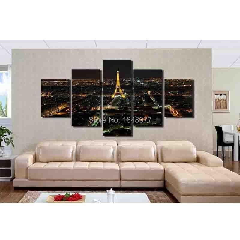 ✅5 paneles moderna imagen lienzo pintura cuadros decoración París ...