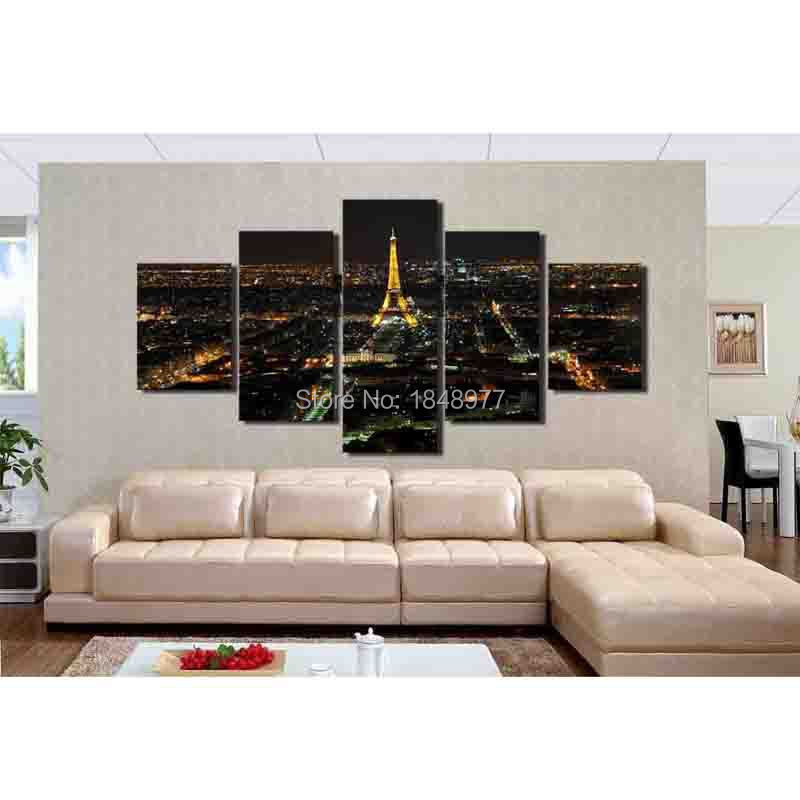 5 panels modern picture canvas painting wall pictures for living room quadro cuadros decoration paris city