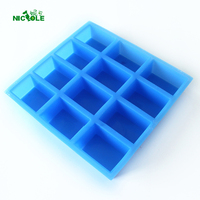 12 Cavity Silicone Soap Mold Handmade Rectangular Loaf Bar Mould