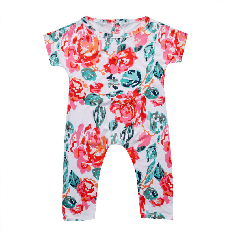 New Newborn Infant Kids Baby Girl Clothing Floral Romper Short Sleeve Flower Cute Jumpsuit Outfit Clothes Baby Girls newborn infant baby girl clothes strap lace floral romper jumpsuit outfit summer cotton backless one pieces outfit baby onesie