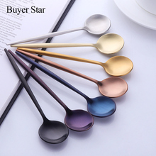 6pcs/lot Stainless Steel Coffee spoons Creative Ice Cream Dessert Long Handle Tea Spoon Tableware Kitchen Tool 7 Colors 6pcs lot stainless steel coffee spoons creative ice cream dessert long handle tea spoon tableware kitchen tool 7 colors