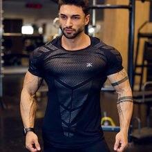 2021 nowy duży typ mężczyźni koszulka kompresyjna mężczyźni Sporting wąska koszulka koszula mężczyzna siłownie T-shirt do biegania Fitness sport mężczyźni t-shirty