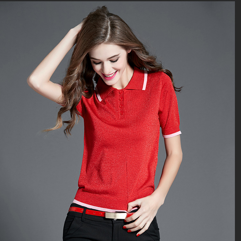Women short sleeve knitting Polo shirt top for spring amp summer RAYON materials women blause in Polo Shirts from Women 39 s Clothing