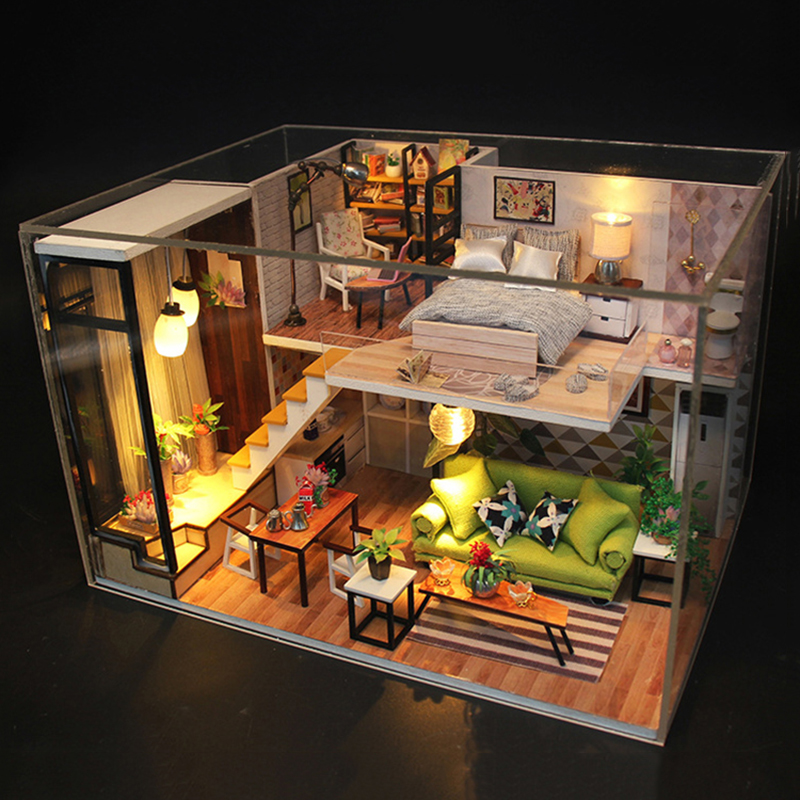 Miniature DIY Doll House Kits 3D <font><b>Puzzle</b></font> Furnitures <font><b>Dollhouse</b></font> Wooden Dolls House Toy For Children Girls Christmas Gift 09 (S8