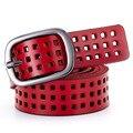 2016 Mujeres de la Marca Hueco Hebilla De Correa de Cuero Patchwork de Diseño Cinturones Para Las Mujeres Vintage Pretina cinturones mujer W240