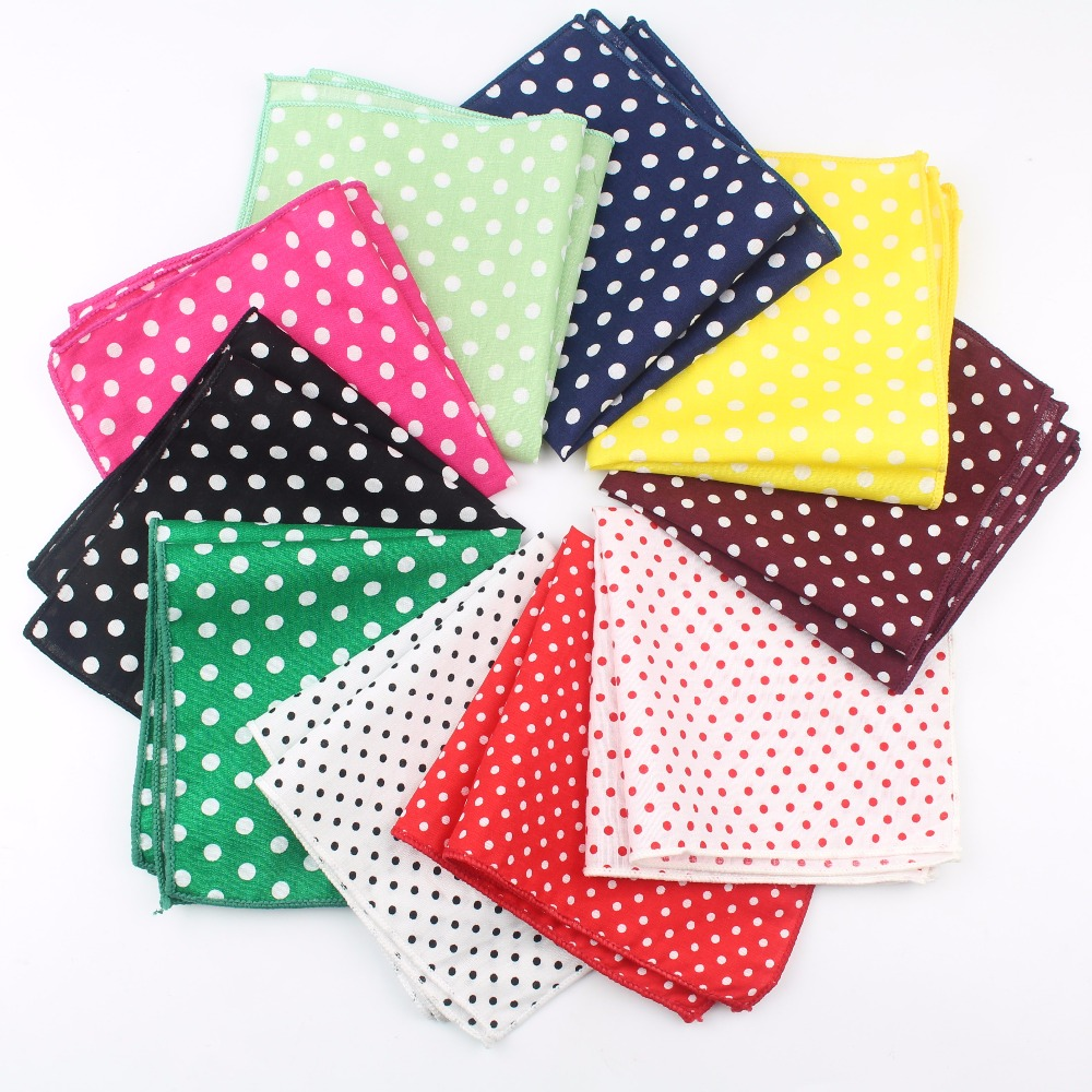 Dot Cotton Handkerchiefs Woven Colorful Printing Round Pocket Square Mens Casual Circle Square Pockets Handkerchief Towels