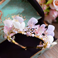 2016 handmade pink flower tiaras earring set wedding accessories bridal hair jewelry crystal crowns headpiece sets A339