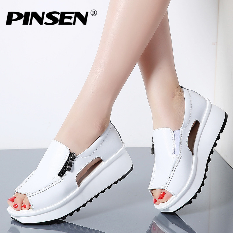 все цены на PINSEN 2018 Fashion Summer Women Sandals Wedges Sandals Ladies Open Toe Round Toe Zipper Silver White Platform Sandals Shoes