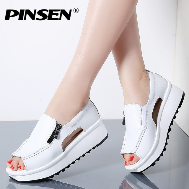 33aa0609e PINSEN 2019 Fashion Summer Women Sandals Wedges Sandals Ladies Open Toe  Round Toe Zipper Silver White Platform Sandals Shoes
