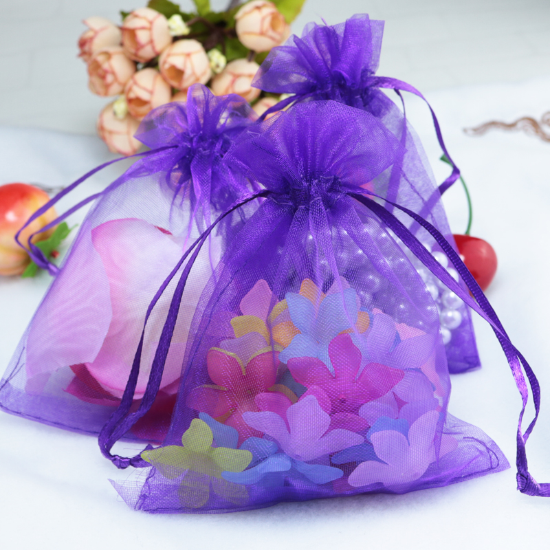 ộ_ộ ༽17x23 cm púrpura joyería Paquetes lazo Bolsas grande cordón ...
