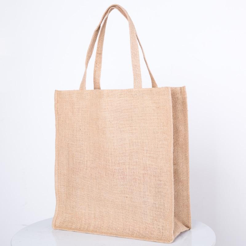 2019 New Bags Linen Tote Bags Reusable Cotton Jute Grocery Shopping Bag  Women Men Travel Shopper