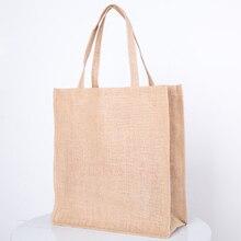 2019 New bags linen Tote Reusable Cotton jute grocery Shopping Bag  Women Men Travel Shopper