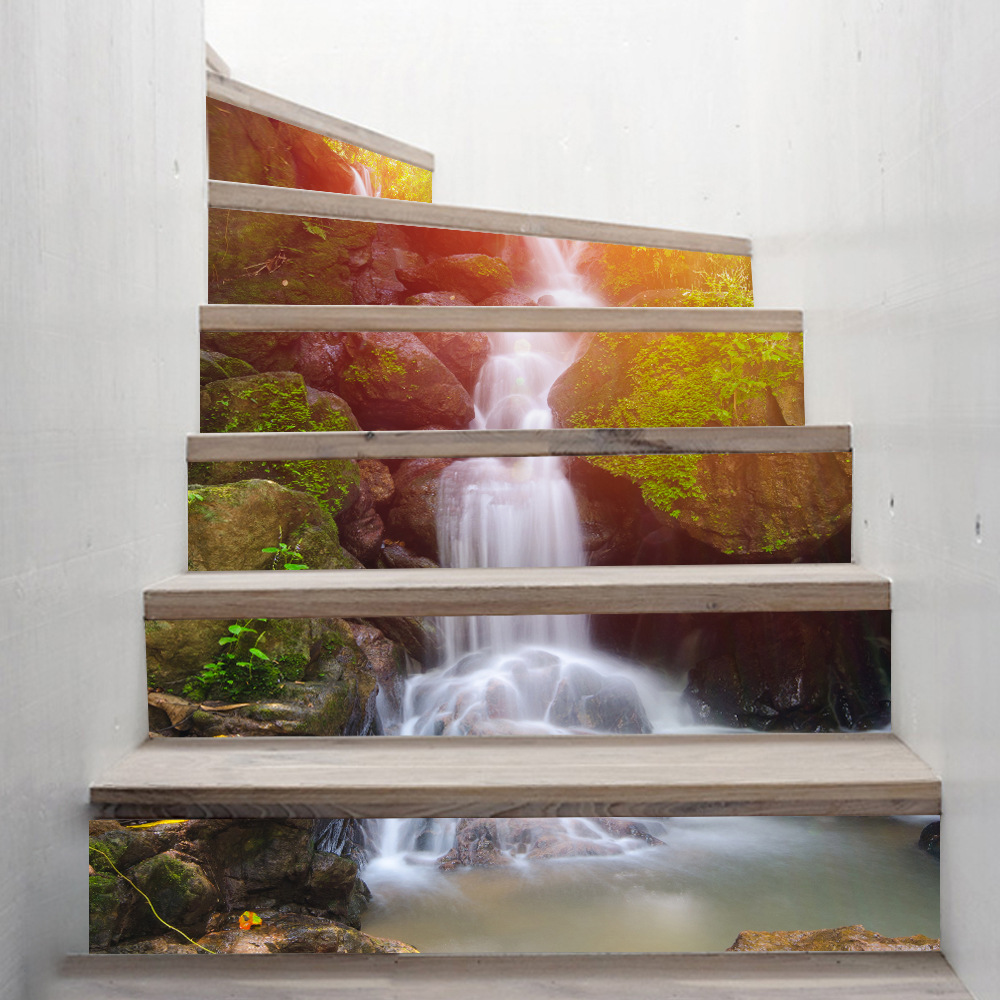funlife Waterfall Stairway Stickers DIY Imitation 3D <font><b>Wall</b></font> Poster PVC Waterproof Home Decorative Accessories <font><b>Wall</b></font> Stickers