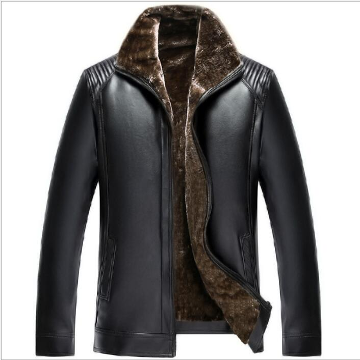 Hot Sale Winter Thick mens Leather Garment Casual flocking Leather Jackets Men's Clothing Leather Jacket Men fur coat