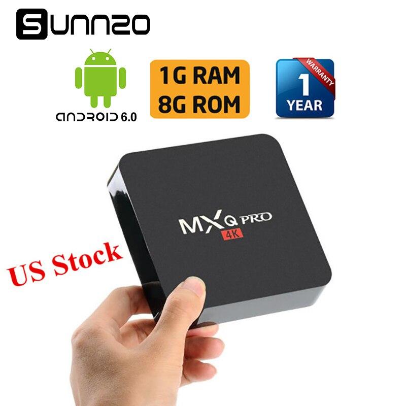 MXQ pro Inteligente Android 7.1 TV BOX Carregado Kodi 17.4 Set-top caixa de 1 GB + 8 GB Quad Core Wi-fi De Streaming Media Player 4 K PK X96