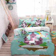 Unicorn Bedding Set Cartoon Print for Kids Duvet Cover with Pillowcases Girls Single Bed Set Floral Home Textiles floral print bedding set