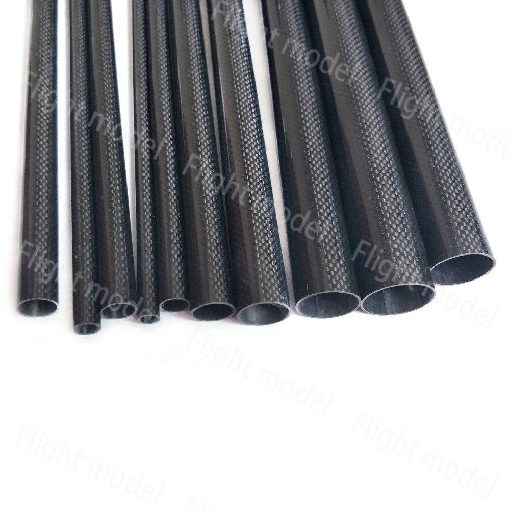 1 pièces Tube en Fiber de carbone 3K pour quadrirotor bras bricolage Drone 10mm 12mm 14mm 16mm 18mm 22mm 24mm 26mm 28mm 30mm 32mm longueur 500mm 3